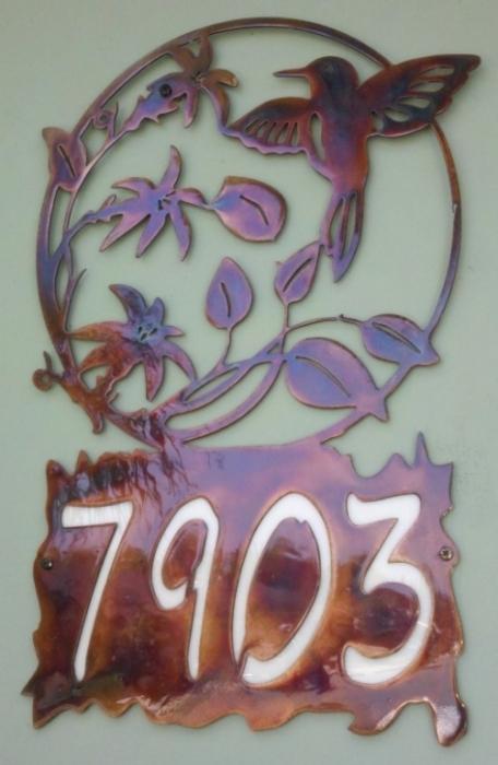 metal-address-sign-hummingbird
