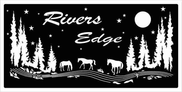 custom metal ranch sign horses trees
